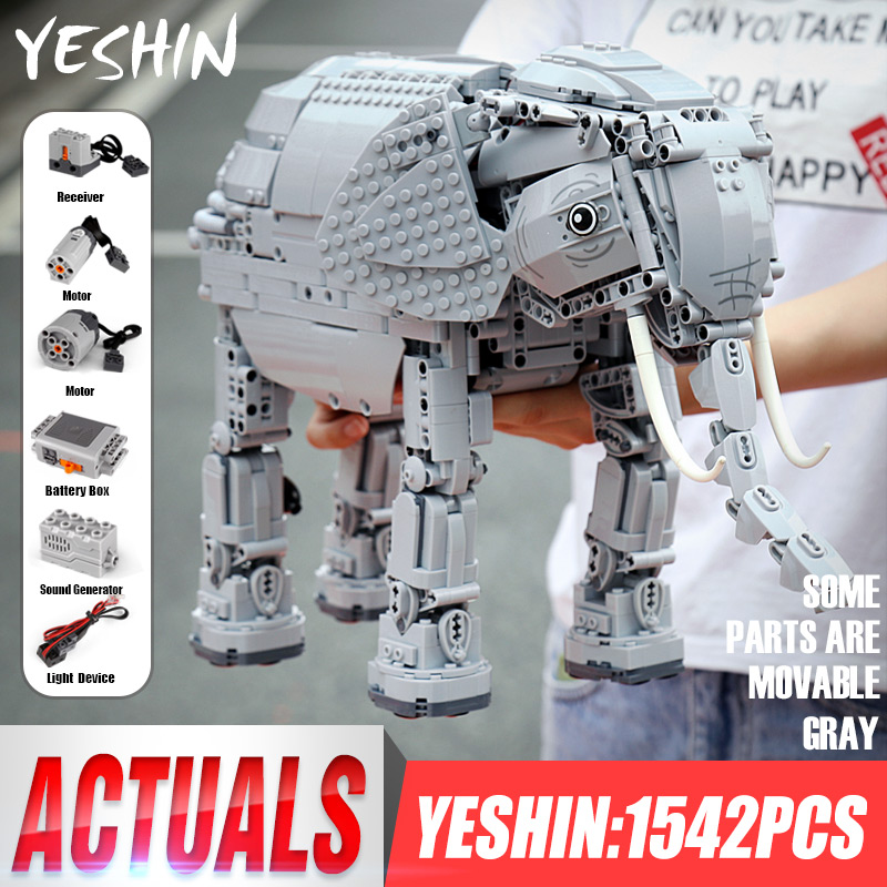 Dhl yeshin 7107 별 계획 장난감 원격 제어 코끼리 세트 빌딩 블록 벽돌 전기 키트 05051 어린이 크리스마스 선물-에서블록부터 완구 & 취미 의  그룹 1
