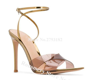 Newest Fashion Pointed Open Toe PVC Stiletto Heel Sandals Pure Transparent Strap Cross High Heel Sandals Formal Dress Shoes