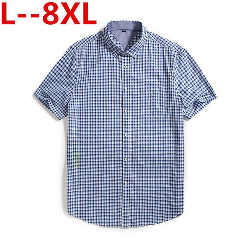 Plus Size 8XL 6XL 5XL Cotton Wholesale 2020 Men Casual Shirts Summer Male Short Sleeve Slim Fit Plaid Shirts Mens Dress Shirts