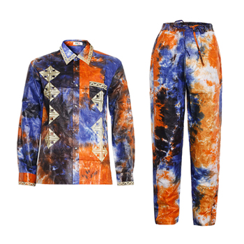 MD african men clothes long sleeves tops pants suit traditional clothing south africa bazin riche dashiki shirt KC47