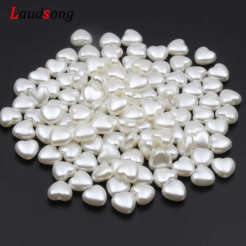 50pcs Love Heart Beads Imitation Pearls Acrylic Beads For Jewelry Making 10x11mm Loose Spacer Beads DIY Necklace Bracelet(China)