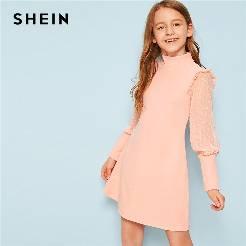SHEIN Kiddie Girls Stand Collar Keyhole Back Button Elegant Dress Kid 2019 Summer Leg Of Mutton Sleeve Frill Party Dresses