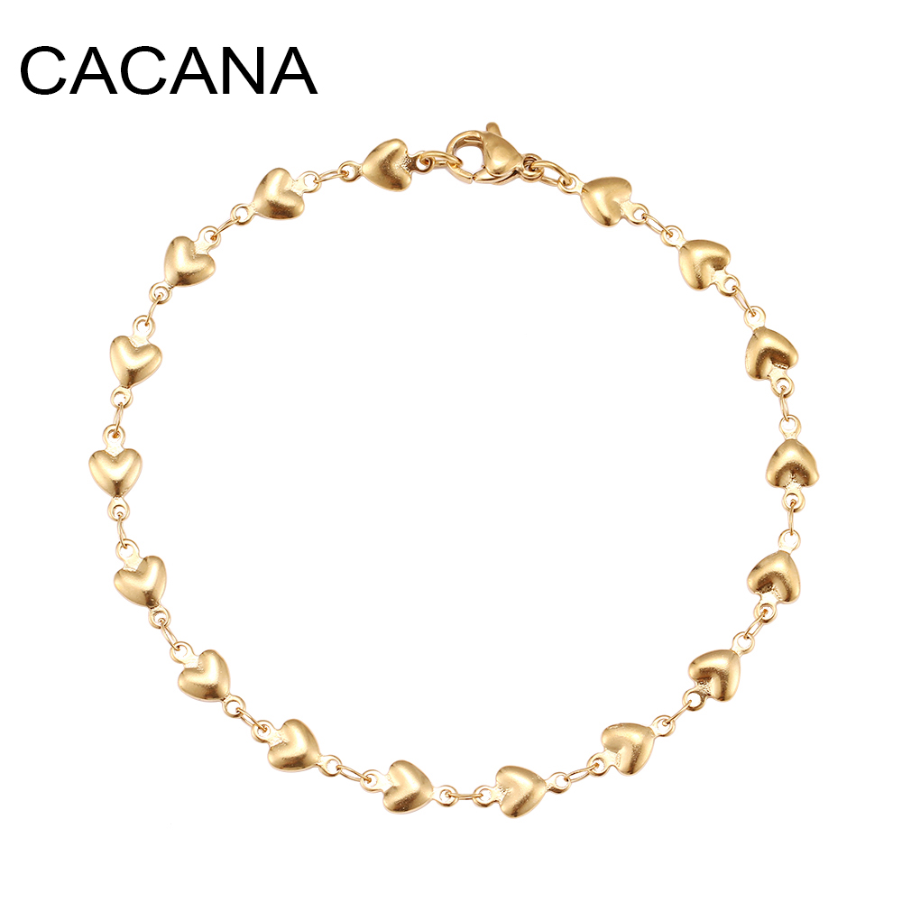 CACANA Stainless Steel Chain Bracelets For Man Women Gold Silver Color For Pendant Heart-shaped Love Donot Fade Jewelry N1852