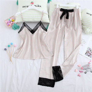 Image 3 - July's Song 3 Piece Woman Pajamas Set Stain Silk Sexy Sleepwear Shorts Female Top And Long Pants Strap Sling Summer Pajamy Suit