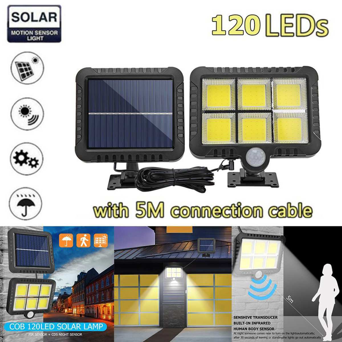 120LED Solar Lamp Motion Sensor Split-body Wall Lamp Light Waterproof Outdoor Path Night Lighting Support Outdoor Night Lighting