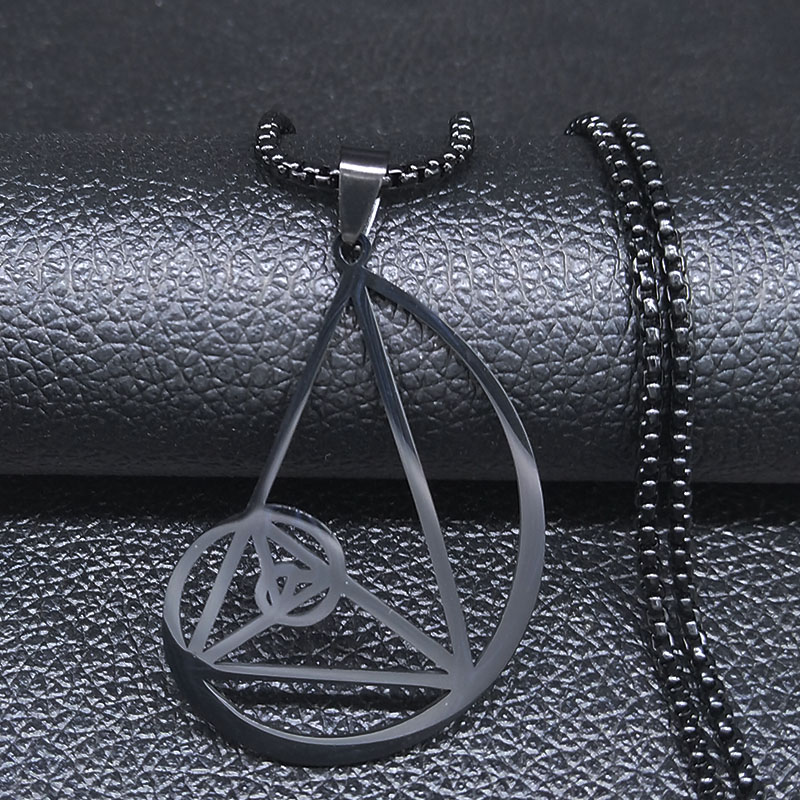 2020 Black Color Triangle Stainless Steel Necklace - <font><b>Fibonacci</b></font> - Golden Ratio Necklaces Pendants Jewelry collares N20061 image