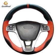 Mão costurado laranja preto plutônio capa de volante do carro de couro artificial para lada vesta 2015 2016 2017