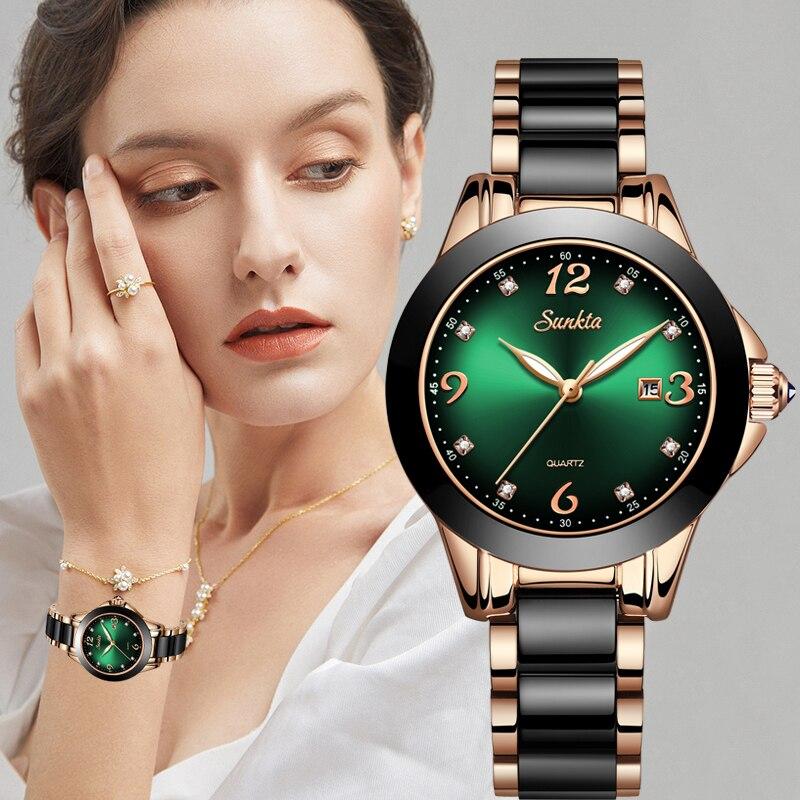 SUNKTA 2020 Fashion Ladies Wrist Watches Luxury Brand Crystal Dress Women Watch  Rhinestone Ceramic Wristwatch Quartz Watch+Box