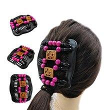 Новые деревянные бусины расческа для волос основы для заколок для волос аксессуары для женщин девочек расчески двусторонний деревянный молоток инструмент головной убор