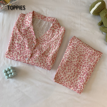 Toppies Pink Leopard Printing Pajamas Women Cute Sleepwear Japan Kawaii Clothes Female Two Pieces Set