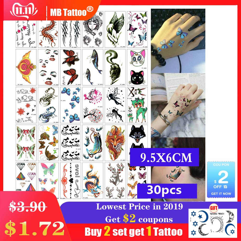 30pcs/set Waterproof Temporary Tattoo Sticker Cartoon Animal Butterfly Cat Panda Water Transfer Fake Tatoo For Women Girl Femme