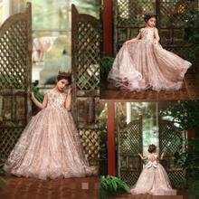 цена на 2020 Glitz Little Girls Pageant Dresses Lace 3D Floral Appliqued Beads Jewel Neck Lace Flower Girl Dress for Wedding Party Gowns