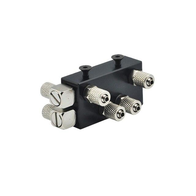 Distribuidor de aceite hidráulico Integral de tres canales para 1/14 RC, pieza de brazo de excavadora de Metal