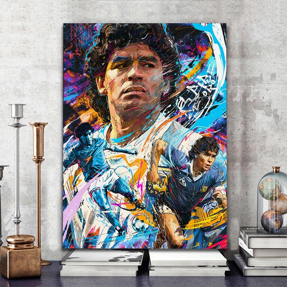 Diego Maradona Football Player Paintings Printed on Canvas