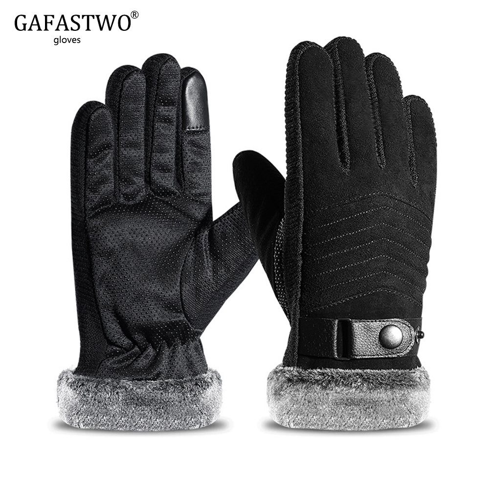 New Mens Winter Windproof Non-Slip Touch Screen Riding Gloves Warm Thickening Plus Velvet Cold Wear Gloves