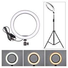 Кольцевой светильник для фотосъемки, мини светодиодная лампа для селфи, студийный светильник для фотосъемки, заполняющий Светильник 160/260 мм с 3 вариантами, светильник-стойка