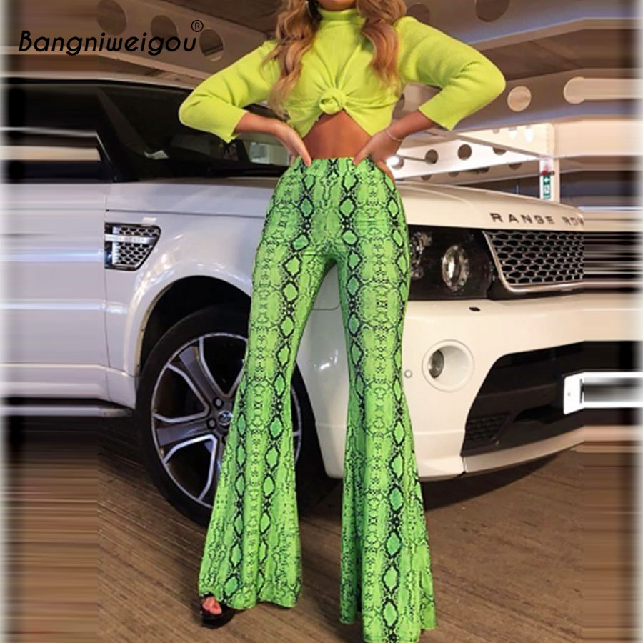 Bangniweigou Green Snakeskin Print Long Flare Pants Gypsy Party Bell-bottom Fashion Trousers Women Spring Autumn Festival Pants