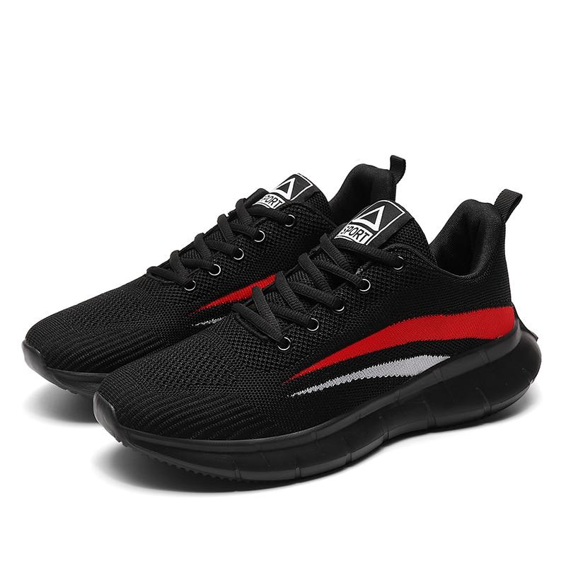 Baskets noires, chaussures d'été décontractées pour hommes, à la mode, en maille respirante, antidérapantes, à lacets