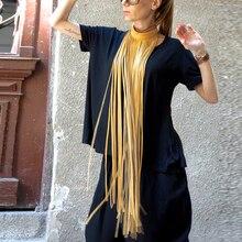 YD & YDBZ nowy luksusowy skórzany naszyjnik dla kobiet długi naszyjnik z frędzlem 6 kolor główna ulica skórzana biżuteria czechy odzież akcesoria