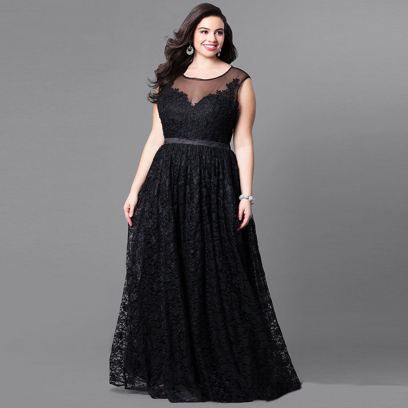 Plus Size Black Lace Evening Dresses Long A-Line O-Neck Sleeveless See-Through Tulle Elegant Evening Gowns Robe De Soiree 2020