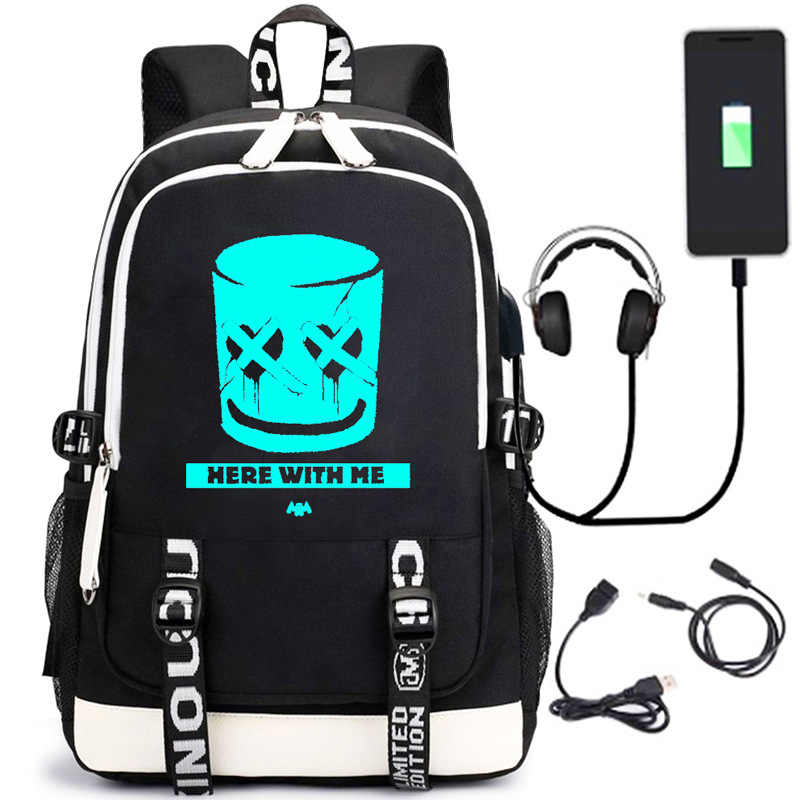Marshmello Cotton Candy School Bag America Mysterious Electronic Music DJ Backpack USB Charging Backpack Schoolbag