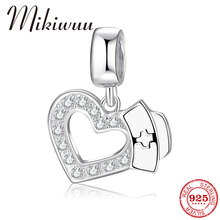 New 925 Sterling Silver sparkling Clear CZ love heart Nurse cap Charms For Jewelry making Fit Original Pandora Charm Bracelet