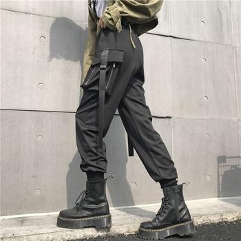 Women High Waist Black Cargo Pants Streetwear Pockets Patchwork Trousers Women Fashion Ankle-length Pencil Pants