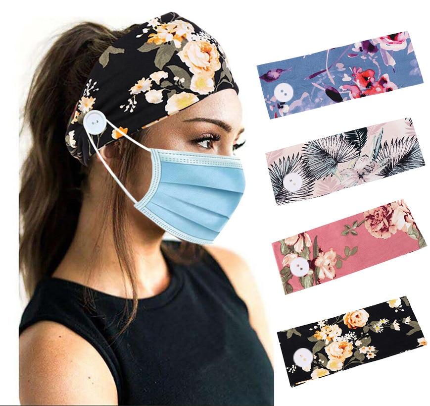 Unisex Earmuff Headband With Button Mask Partner Headband Running Elastic Hair Band Hairband Hair Accessories Headwrap