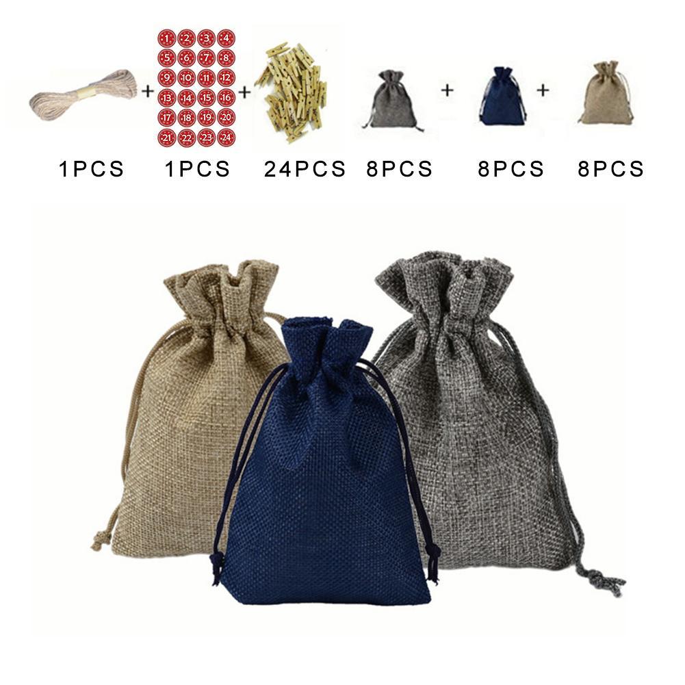 Рождественский календарь ткань для рукоделия сумка Адвент календарь тканевая сумка Рождественский подарок сумка Рождественский календарь набор для рукоделия - Цвет: C