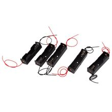 Retail 5Pcs 1 x 1.5V AA Dual Cable Battery Holder Plastic Case Storage Box Black + Red