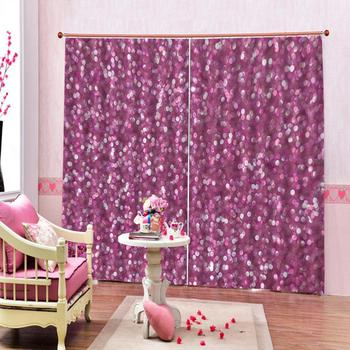 custom 3d curtain fabric Curtain Decoration 3D Brief Purple dots Curtains For Bedroom Living room Polyester Room Curtain