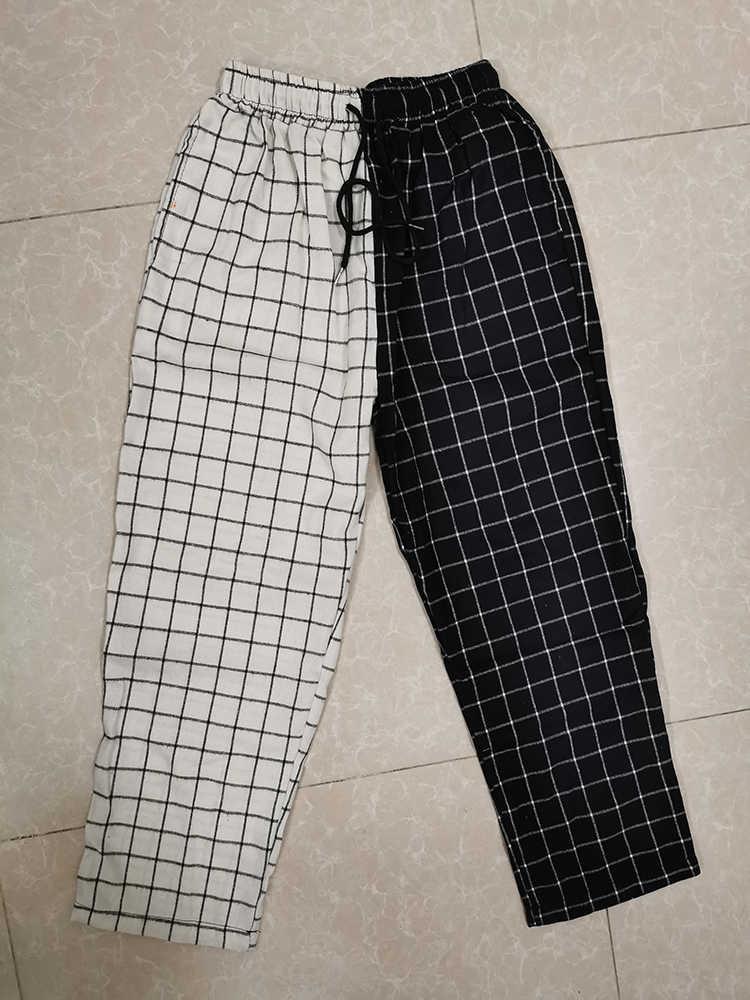 Pantalon à carreaux Vintage, style Patchwork, style Harajuku, pour femmes, taille haute, élastique, style coréen décontracté