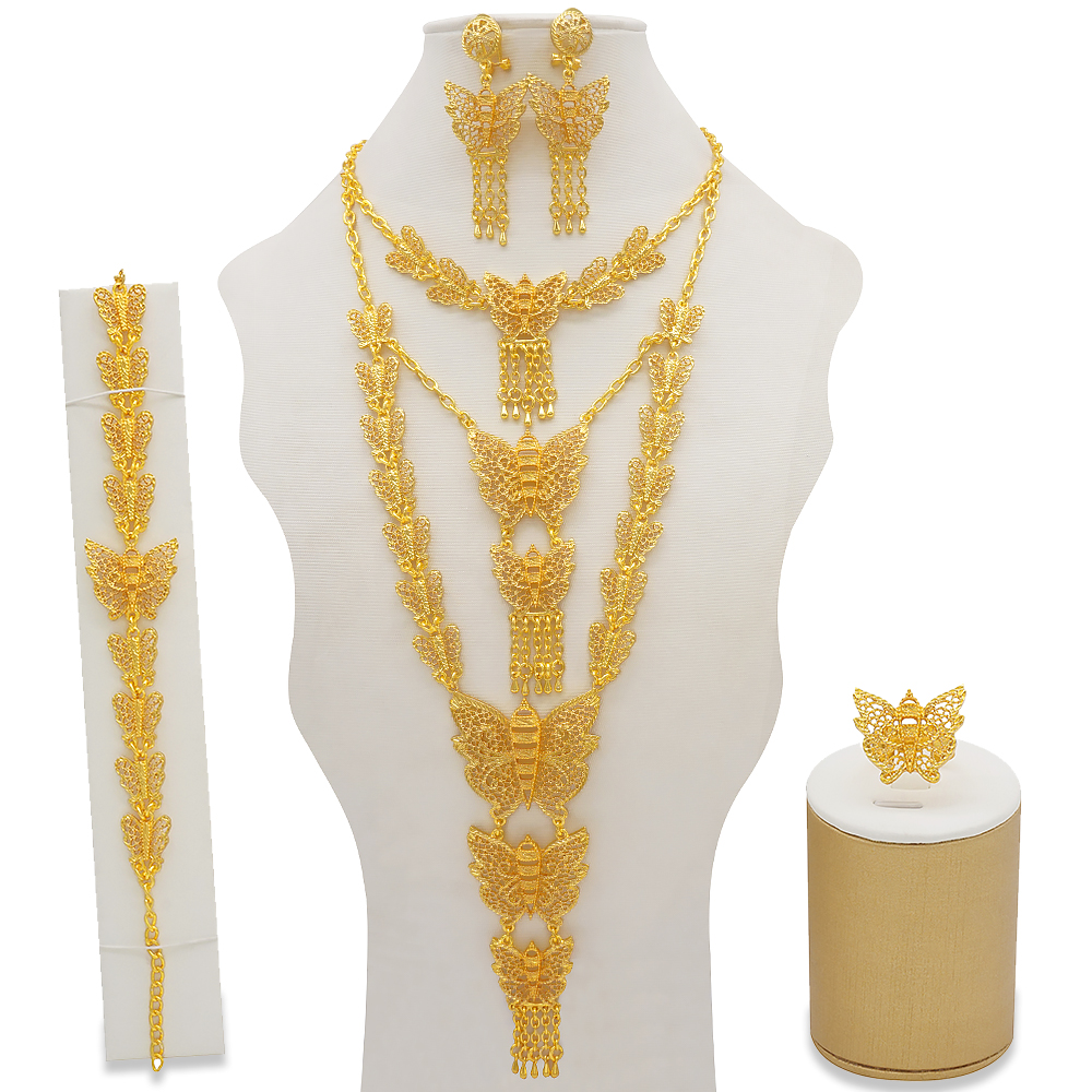 Dubai Jewelry Sets Gold Necklace & Earring Set For Women African France Wedding Party 24K Jewelery Ethiopia Bridal Gifts 3