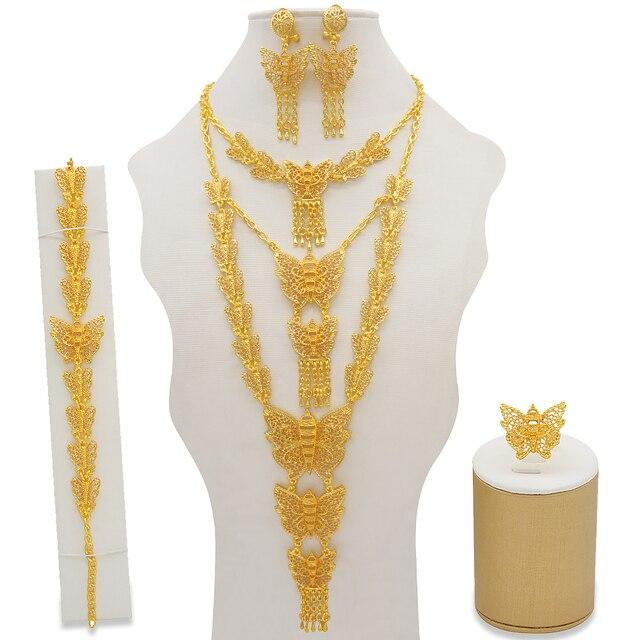Dubai conjuntos de jóias colar de ouro & brinco conjunto para as mulheres africano frança festa de casamento 24k jóias etiópia presentes de noiva 3
