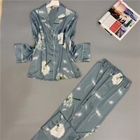 Smmoloa 2019 Autumn Winter Long Sleeves Pijama Women Nature Silk Pajamas