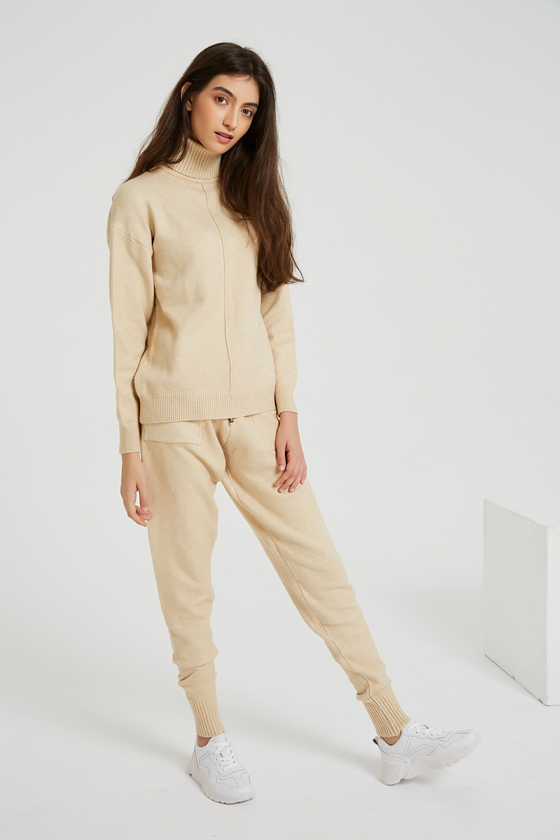 Women's Suit 2019 Autumn And Winter New Solid Color Knit Two-piece Casual Loose Pullover Sweater And Pants Two-piece Set