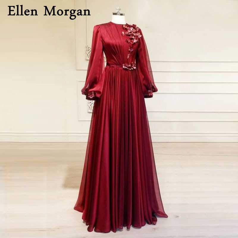 Saudi Arabic Burgundy Chiffon Evening Dresses Party Elegant For Women Dubai Caftan Lace Zipper Long Sleeves Formal Gowns 2020