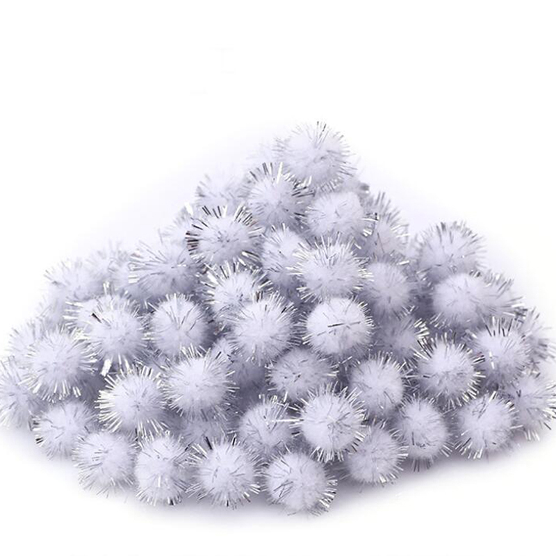 100pcs/pack Mini Lightweight 3 Color DIY Handmade Sparkle Glitter Poms Balls for Home Decor Xmas Decoration Arts Craft