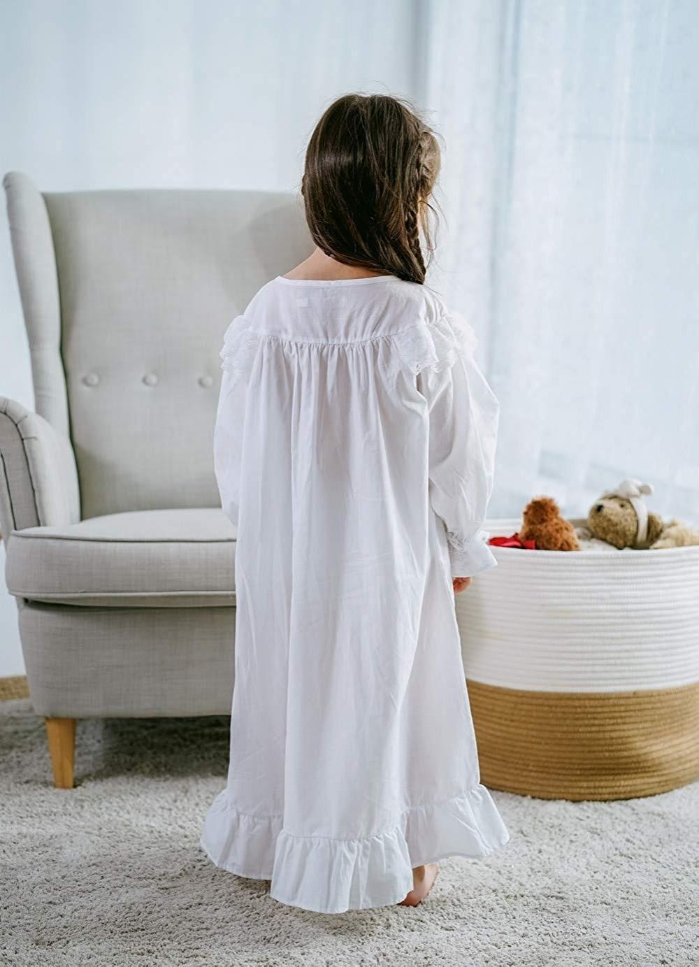Baby Girl Clothes Princess Nightgown Long Sleeve Sleep Shirts Nightshirts Pajamas Christmas Dress Sleepwear kids for 3-12 Years (5)