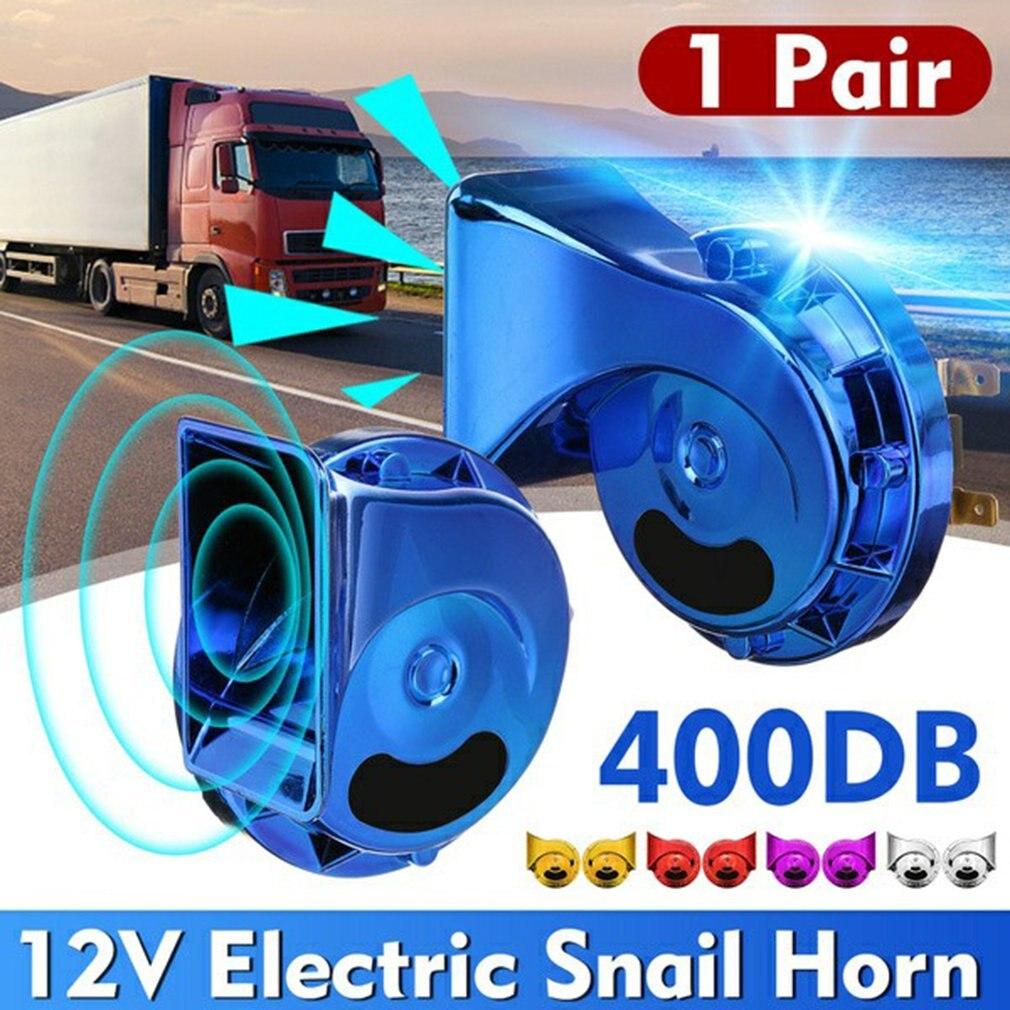 12V 1 Pair Electric Snail Horn Speeker Waterproof Universal Car Motorcycle Truck Boat 400DB Electric Loud Snail Air Horn Siren