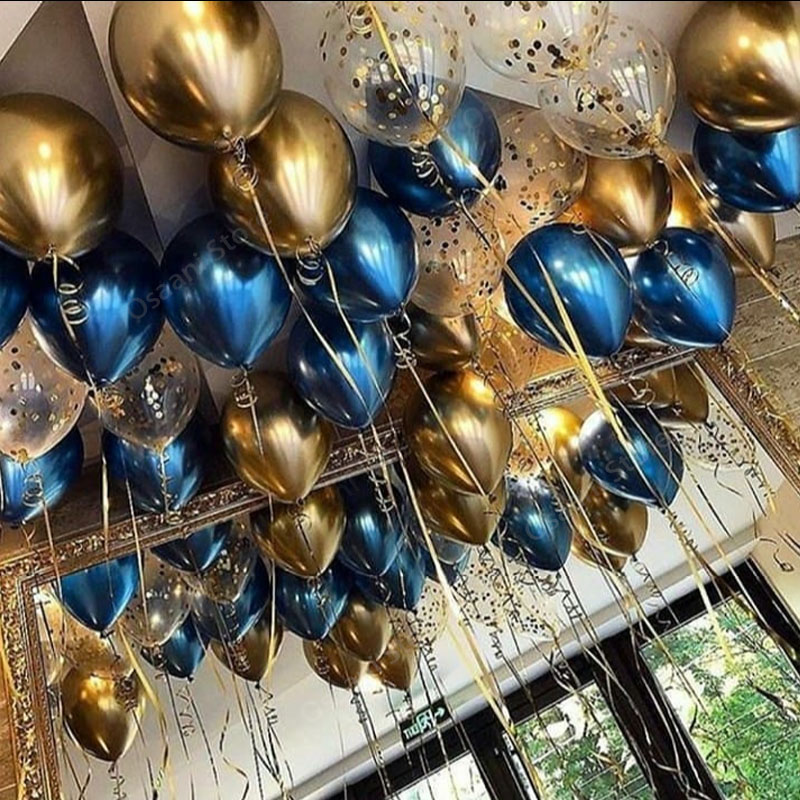 15pcs Gold And Black Metal Latex Balloons For Birthday Party Decorations 4