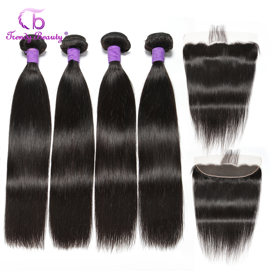 Trendy Beauty Peruvian Straight Hair With Lace Frontal Closure 100% Human Hair Bundles With 13x4 Inches Lace Frontal  Non-Remy