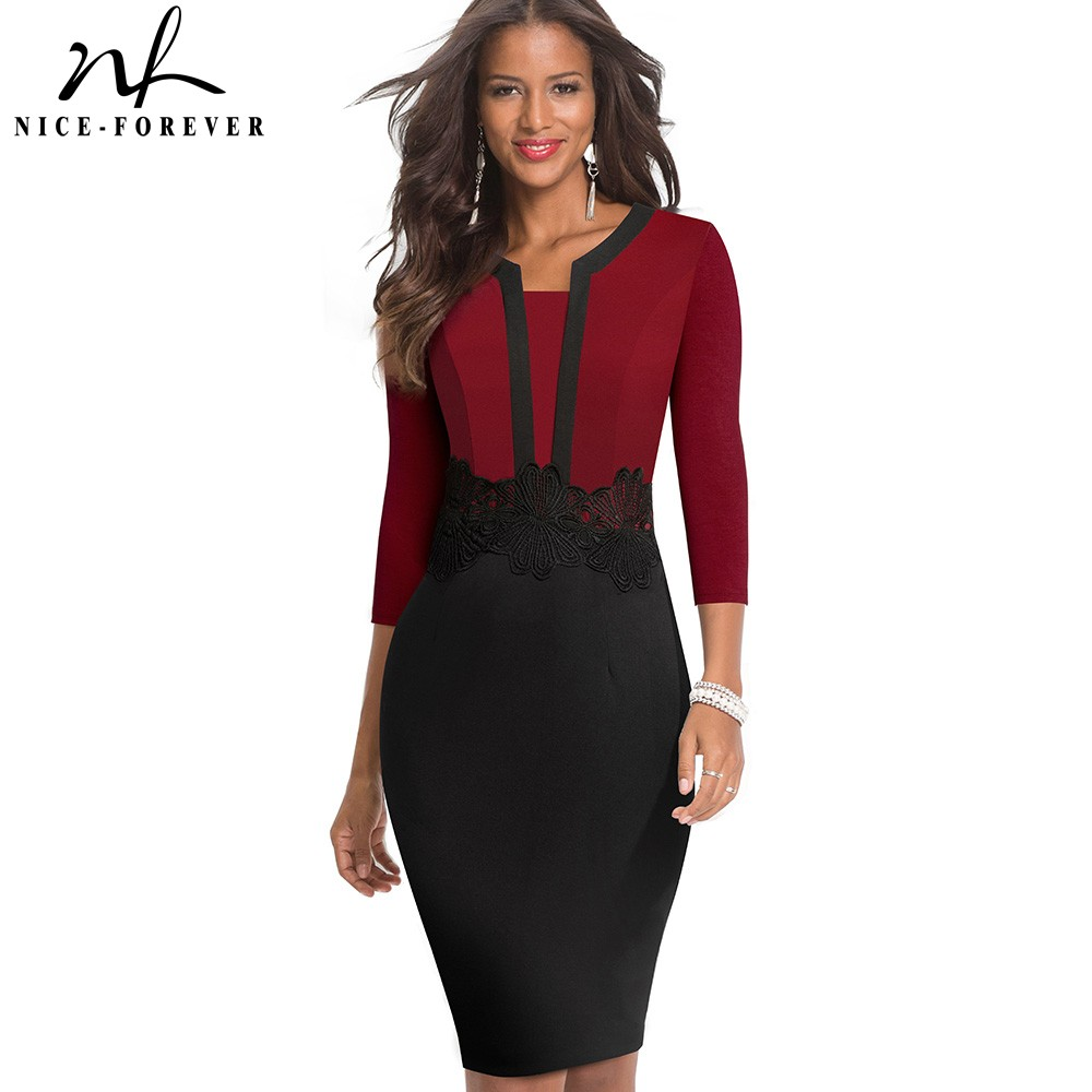 Nice-forever Elegant Lace Patchwork Office Vestidos Business Work Bodycon Women Dress B569