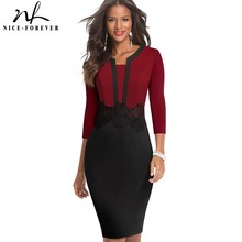 Nice forever Elegant Lace Patchwork Office vestidos Business Work Bodycon Women Dress B569