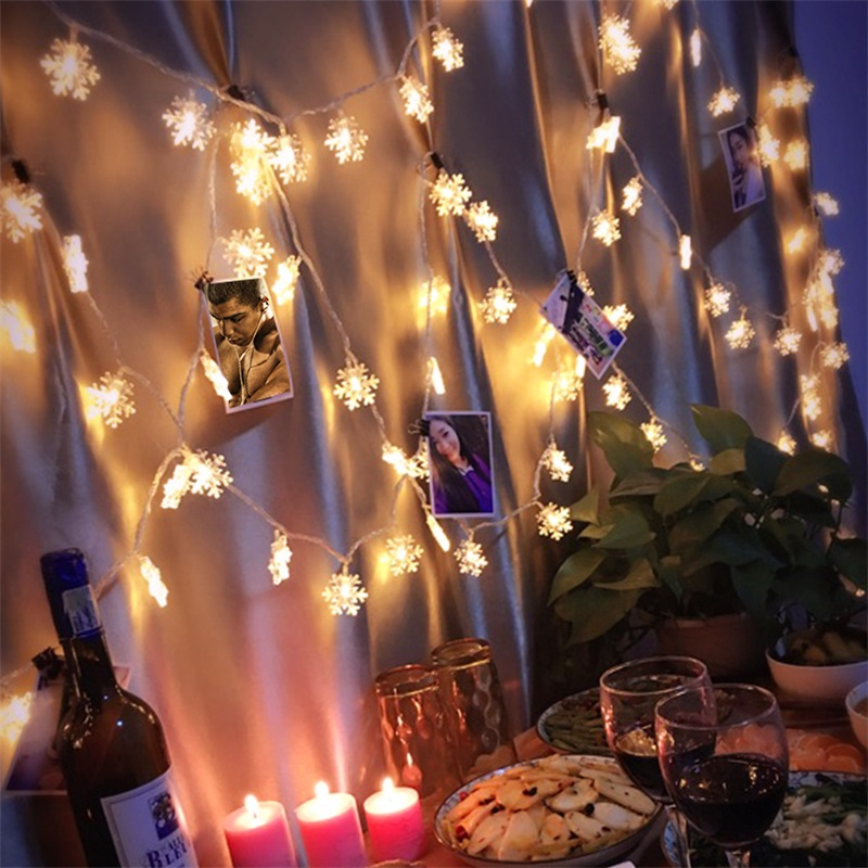 1/3/5/6/10M LED Garland Light String Christmas Tree Party Decor Romantic Outdoor Fairy Snowflake Lights String Hanging Ornaments