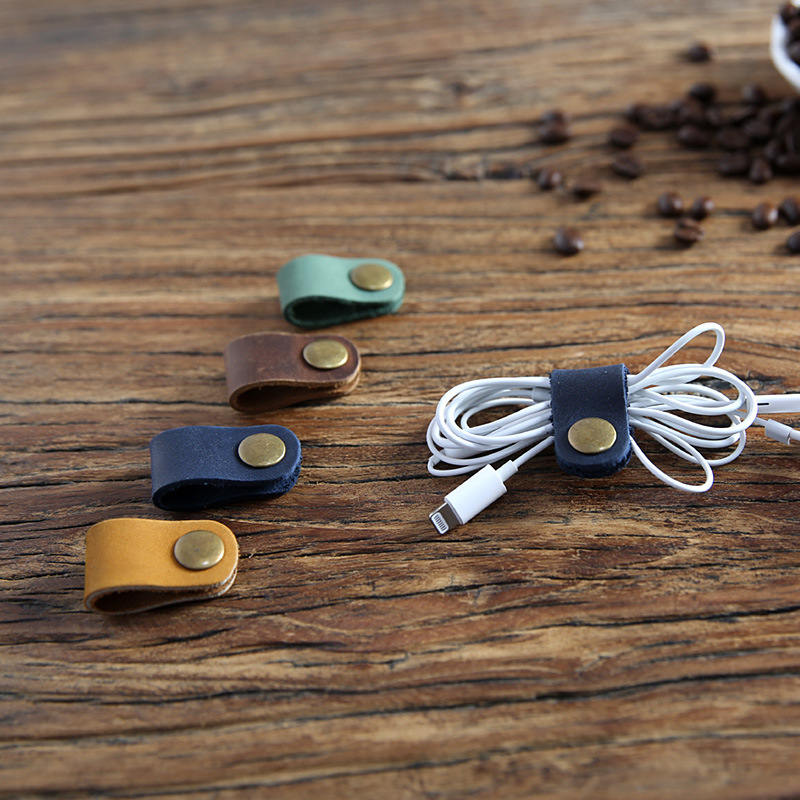 Universal Line Storage Clip Leather Snap Button Winder Portable Earphone Data Cable Storage Buckle Cord Wire Finishing Organizer