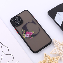 Custom Floral Gold Initials Alphabet A-Z Phone Case For iPhone XS Max X XR 11 12Pro Max 8 8Plus X Camera Protection Back Cover