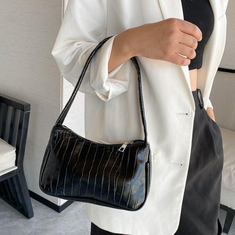 Bolso de hombro de piel sintética con estampado de cocodrilo para mujer, bolsa de mano Vintage, pequeño