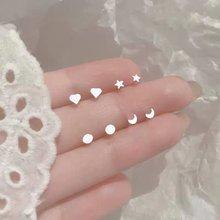 Mini boucles d'oreilles en argent Sterling 999, 32 styles, pour femmes, hommes, étoile, lune, étudiants, épingle d'oreille, bijoux fins minimalistes