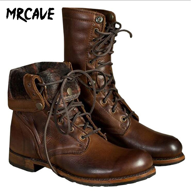 MRCAVE Male Men Boots Autumn Winter Soft Leather Tooling Shoes Fashion Retro Mid- Calf Motorcycle Punk Boots Rock Shoes Lace-up
